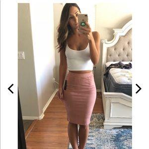 Dresses & Skirts - Lulu's Blush Pink Suede Skirt